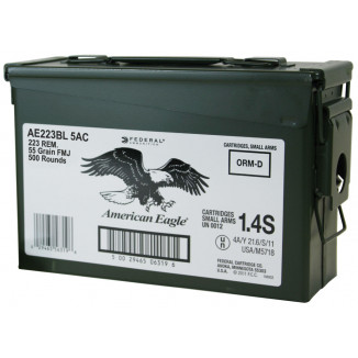 American Eagle Rifle Ammunition  .223 Rem 55 gr FMJ  500/can