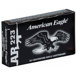Federal American Eagle Rifle Ammunition .223 Rem 55GR FMJ 20/box