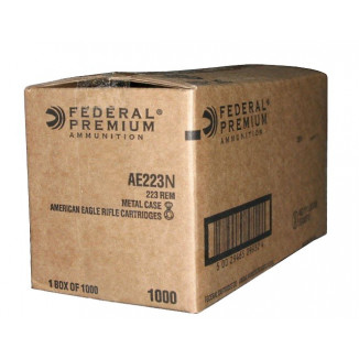 Federal American Eagle Rifle Ammunition .223 Rem 62 gr FMJ 3020 fps 1000/ct