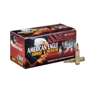 Federal American Eagle Varmint & Predator Rifle Ammunition .223 Rem 50 gr JHP 3325 fps 50/ct