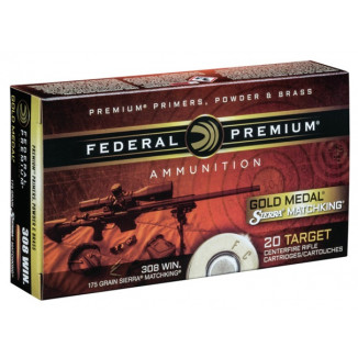 Federal Premium Gold Medal Sierra MatchKing Rifle Ammunition .308 Win 175 gr BTHP 2600 fps 20/ct