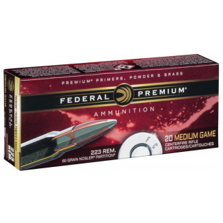 Federal Premium V-Shok Nosler Partition Rifle Ammunition .223 Rem 60 gr PT 3160 fps 20/ct