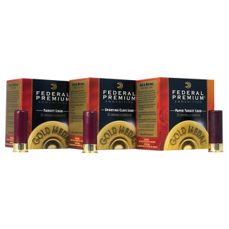 "Federal Gold Medal Sporting Clays Plastic 12 ga 2-3/4"" 1 oz #8 25/Box"