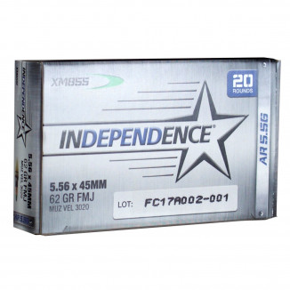 Federal Independence XM855 Ammunition 5.56mm 62gr FMJ 3020 fps 20/ct
