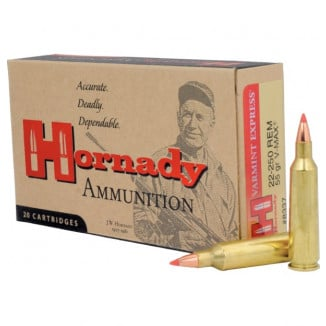 Hornady Varmint Express Rifle  Ammunition .22-250 Rem 55 gr V-MAX 3680 fps - 20/box
