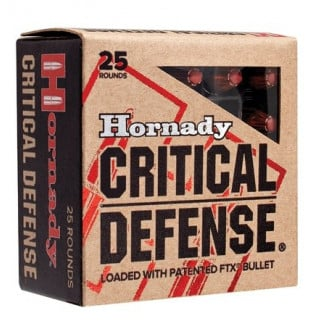 Hornady Critical Defense Handgun Ammo .380 ACP 90 gr FTX 1000 fps 25/box