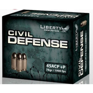 Liberty Civil Defense Handgun Ammunition .45 ACP (+P) 78 gr 1900 fps SCHP 20/ct