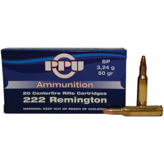 PPU Rifle Ammunition .222 Rem 50 gr SP 20/Box