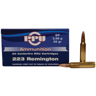 PPU Rifle Ammunition .223 Rem 55 gr SP 20/Box