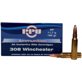 PPU Rifle Ammunition .308 Win 180 gr SP 2454 fps - 20/box