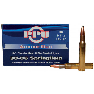 PPU Rifle Ammunition .30-06 Sprg 150 gr SP 2910 fps - 20/box