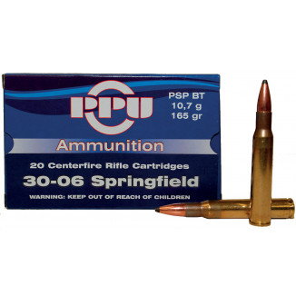 PPU Rifle Ammunition .30-06 Sprg 165 gr PSP 2910 fps 20/ct