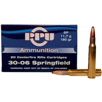 PPU Rifle Ammunition .30-06 Sprg 180 gr SP 2910 fps - 20/box