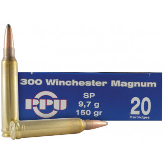 PPU Rifle Ammunition .300 Win Magnum 150 gr SP 20/Box