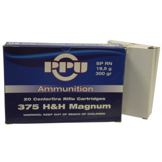 PPU Rifle Ammunition .375 H&H Magnum 300 gr SPRN 20/Box