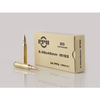 PPU M193 Rifle Ammunition 5.56mm 55gr FMJBT 3240 fps 20/ct