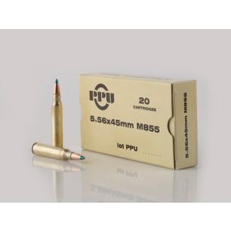 PPU M855 Rifle Ammunition 5.56mm 62 gr FMJBT 3050 fps 20/ct
