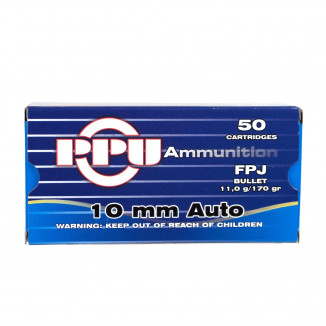 PPU Handgun Ammunition 10mm Auto 115 gr FPJ 1115 fps 50/ct