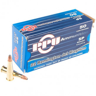 PPU Rifle Ammunition .22 Rem Jet Magnum 45 gr SP 50/Box