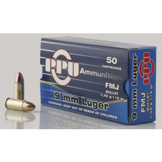 PPU Mil-Spec Handgun Ammunition 9mm Luger 115 gr FMJ 1145 fps 50/ct