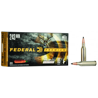 Federal Premium Trophy Copper Rifle Ammunition .243 Win 85 gr TC 3200 fps 20/ct