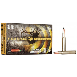 Federal Premium Trophy Copper Rifle Ammunition .30-06 Sprg 165 gr TC 2800 fps 20/ct
