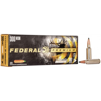 Federal Premium Trophy Copper Rifle Ammunition .300 WSM 180 gr TC 2960 fps 20/ct