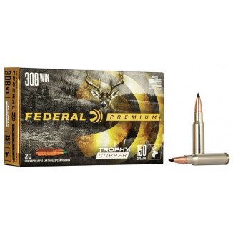 Federal Premium Trophy Copper Rifle Ammunition .308 Win 150 gr TC 2820 fps 20/ct