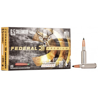 Federal Premium Trophy Copper Rifle Ammunition  6.5 Creedmoor 120gr TC 20/ct