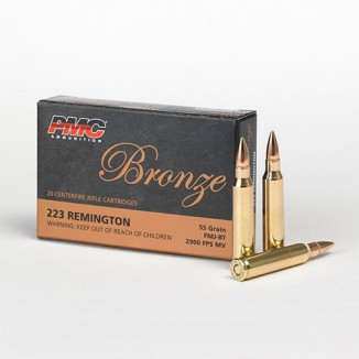 PMC Bronze Rifle Ammunition .223 Rem 55 gr FMJ 3200 fps - 20/ct