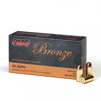 PMC Bronze Handgun Ammunition .32 ACP 60 gr JHP 980 fps 50/box
