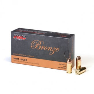 PMC Bronze Handgun Ammunition 9mm Luger 115 gr JHP 1160 fps 50/box