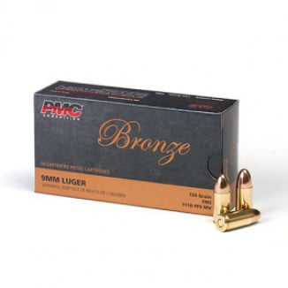 PMC Bronze Handgun Ammunition 9mm Luger 124 gr FMJ 1110 fps 50/box