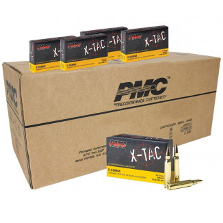 PMC X-Tac Rifle Ammunition 5.56x45mm 55 gr FMJBT 3120 fps 1000/Box