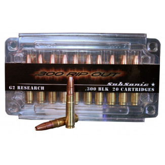 G2 Research Rip Out Supersonic Rifle Ammunition .300 AAC Blackout 110 gr HP 2100 fps 20/ct