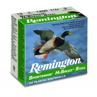 Remington Sportsman Hi-Speed Steel Shotshells 12ga 3 in 1-1/8 oz 1550 fps  #2 25/ct