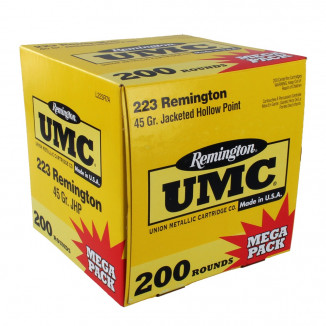 Remington UMC Rifle Ammunition .223 Rem 45 gr JHP 3550 fps - 200/box