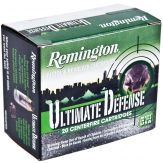 Remington Ultimate Defense Handgun Ammunition .38 Spl(+p)125 gr BJHP 975 fps 20/Box