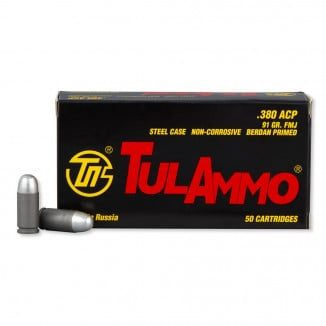 TulAmmo Handgun Ammunition .380 ACP 91 gr FMJ 1010 fps 50/box