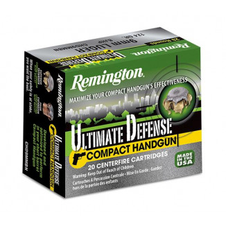 Remington Ultimate Defense Handgun Ammunition 9mm Luger 124 gr BJHP  20/box