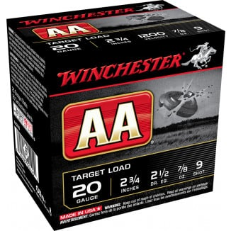 "Winchester AA Target 20 ga 2 3/4"" 1200 fps 7/8 oz #9  - 25/box"