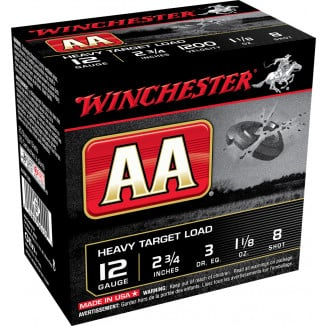 "Winchester AA Target 12 ga 2 3/4"" 3 dr 1 1/8 oz 1200 fps #8  - 25/box"