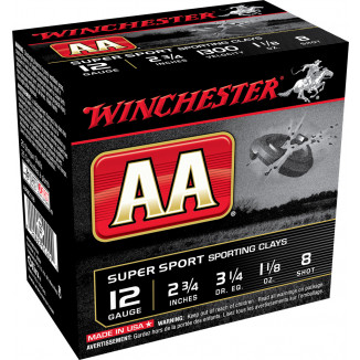 "Winchester AA Super Sport 12 ga 2 3/4"" 1-1/8 oz #8 1300 fps 25/ct"