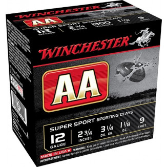 "Winchester AA Super Sport Shotshells 12 ga 2-3/4"" 1-1/8 oz 1300 fps #9 25/ct"