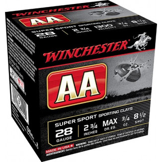 "Winchester AA Super Sport Shotshell 28 ga 2-3/4""  3/4 oz 1300 fps #8.5 25/ct"