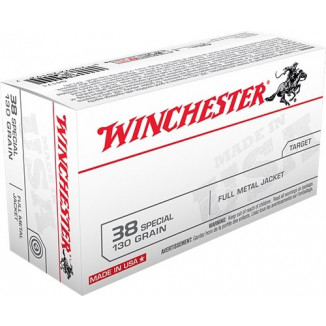 Winchester USA Handgun Ammunition .38 Spl 130 gr FMJ  50/box
