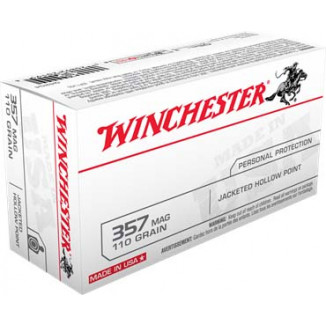 Winchester USA Handgun Ammunition .357 Mag 110 gr JHP 50/box