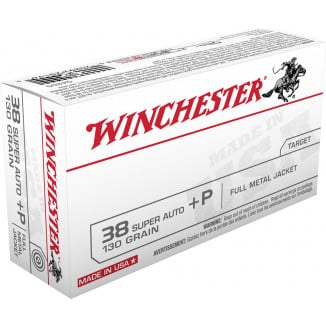 Winchester USA Handgun Ammunition .38 Super (+P) 130 gr FMJ  50/box