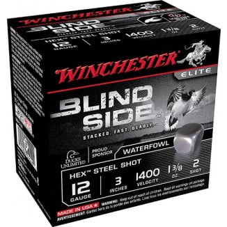 "Winchester Blind Side Shotshells 12 ga 3"" 1-3.8 oz #2 100/ct"