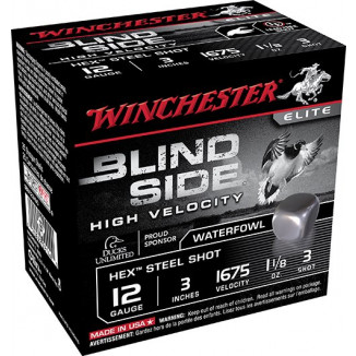 "Winchester Blind Side Shotshells 12 ga 3"" 1-1/8 oz #3 25/ct"